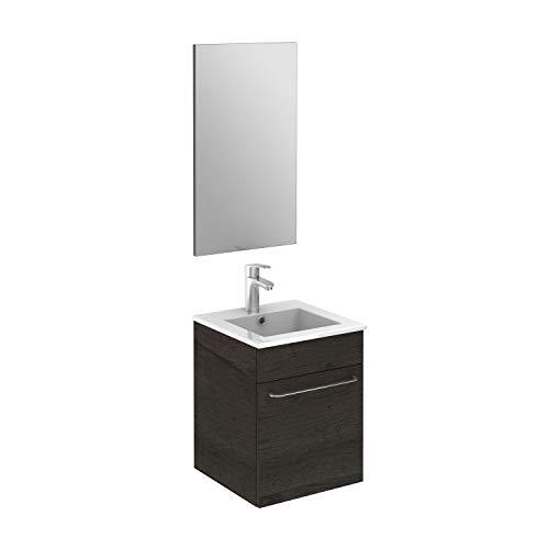 "ROYO Set 16"" QUBO Modern Bathroom Vanity (Sink + Mirror + Unit Side) Essence WENGE – 1 Door"
