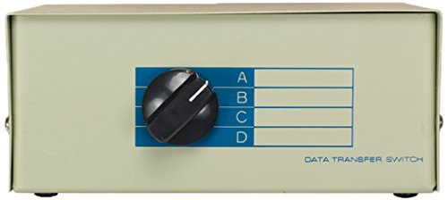 Cablelera 4-Way DB9 Female I/O and Male ABCD Manual Data Switch, 26AWG (ZDMN11A2-4)