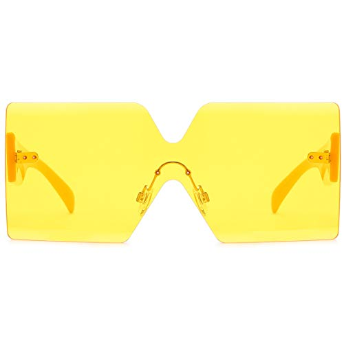 Oversized Square Sunglasses for Women Rimless Frame Candy Color Transparent ()