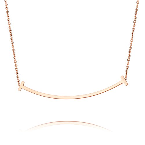 METTU Silver and Rose Gold Simple Double T Smile Clavicle Necklace for Girls
