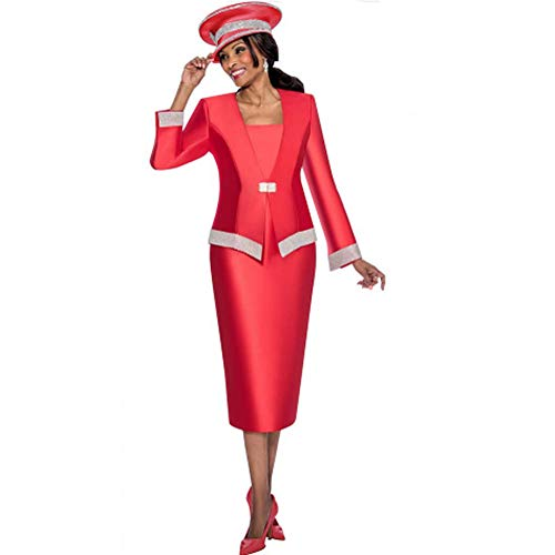 Kueeni Women Church Suits with Hats Church Dress Suit for Ladies Formal Clothes White (red hat&Suit, ()