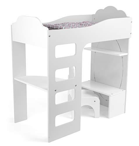 Small Foot 12025 Puppenhochbett aus Holz, mit Leiter, Bettwasche, Schreibtisch, Stuhl und Spiegel, AB 3 Jahren Juguete, Multicolor