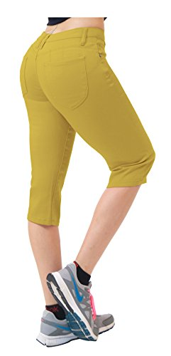 Mustard House - Women's Butt Lift Super Comfy Stretch Denim Capri Jeans Q43308 Mustard 11