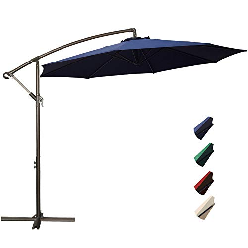 RUBEDER Offset Umbrella - 10Ft Cantilever Patio Hanging Umbrella,Outdoor Market Umbrellas with Crank Lift & Cross Base (10 Ft, Navy)
