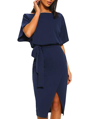 Women's Tie Sash Belted Midi Casual Dress Rompers and Jumpsuits with Roll Up or Batwing Short Sleeve (Navy 2, Small)