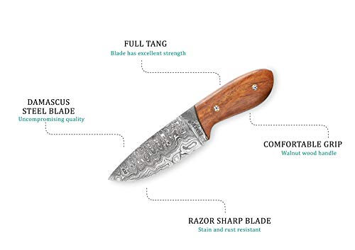 Perkin Knives Custom Handmade Damascus Hunting Knife from Perkin