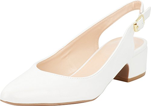 (Cambridge Select Women's Closed Pointed Toe Buckled Slingback Chunky Block Mid Heel Pump (7 B(M) US, White)