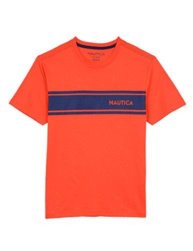 Nautica Boys' Little' Short Sleeve Striped Crew-Neck T-Shirt, Firework, 7 (T-shirt Sleeve Firework Short)