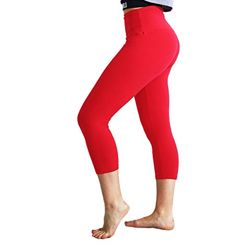 TNNZEET High Waisted Tummy Control Soft Plus Size & One Size Capri Leggings Elastic Opaque Slim -