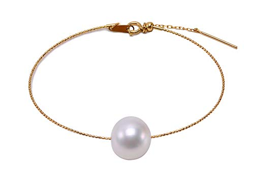 JYX 18k Gold Chain Bracelet with a 12.5mm White South Sea Pearl