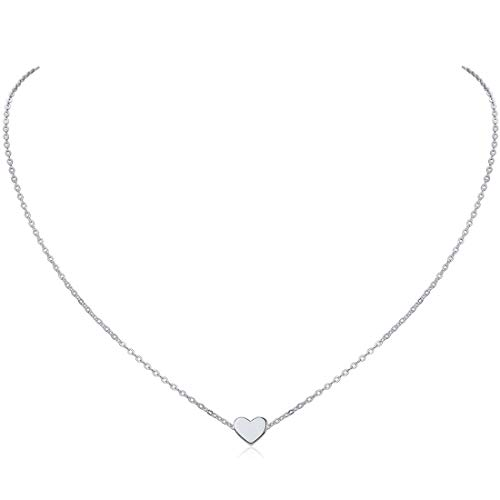 ChicSilver 925 Sterling Silver Tiny Heart Pendant Necklace Endlessness Love Dainty Necklace