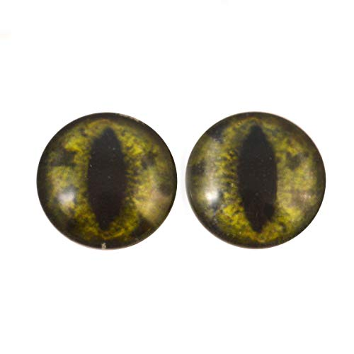 25mm Glow in The Dark Dark Green Alligator Eyes - 1 inch Glass Eyes Pair - Peel and Stick Adhesive Backing - for Art Dolls, Jewelry Making, Taxidermy, Scrapbooking, and More -