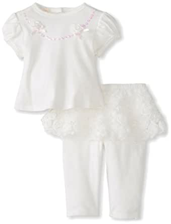 Biscotti Baby Girls' Rose Perfection Top and Tutu Legging, Ivory, 12 Months