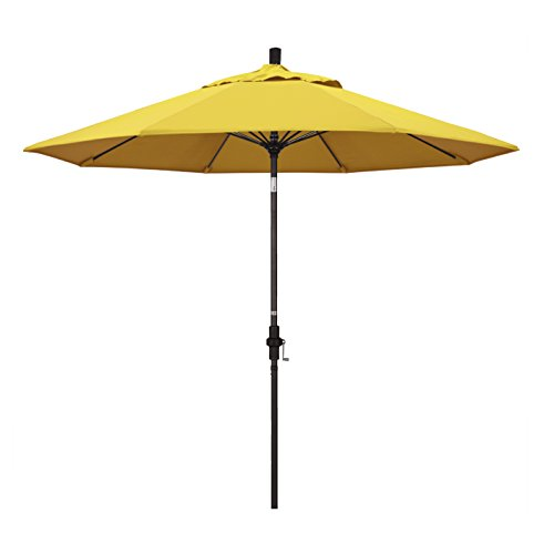 California Umbrella 9' Round Aluminum Pole Fiberglass Rib Market Umbrella, Crank Lift, Collar Tilt, Bronze Pole, Lemon Olefin