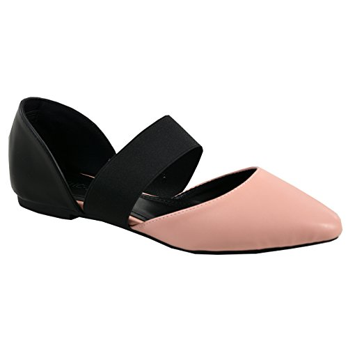 Cucu Fashion New Womens Ladies Elasticated Strap Pointy Ballerina Pumps Flats Shoes Sizes UK Pink wies0jrRA