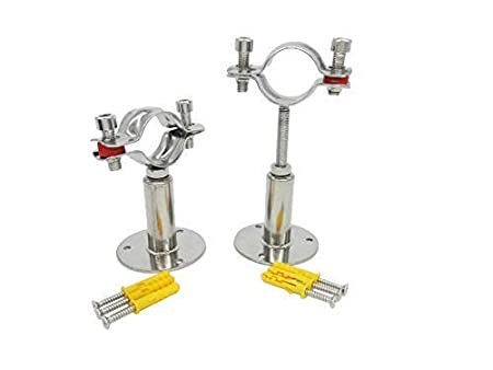 1-inch Set of 2 Adjustable Pipe Bracket Clamp Pipe Straps for Dia 32mm Stainless Steel Wall Mount Ceiling Mount Pipe Support Pipe Tube