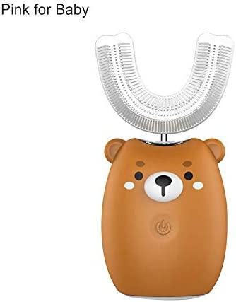 liuxi9836 Elektrische 360 ° -Ultraschall-Zahnbürste für Kinder Cartoon Blu-ray Cold Light Vollautomatischer U-förmiger Mundreiniger