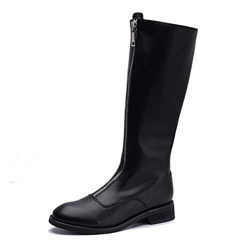 Shukun Stiefeletten Herbst und Winter Leder Stiefel reißverschluss dick mit Stiefel Ritter Stiefel mit weibliche hohe Stiefel Reitstiefel Flache unterbeine Lange Stiefel 431143