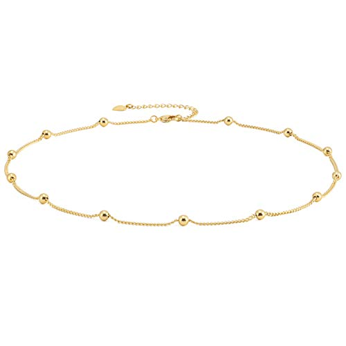 (Dainty Gold Choker Necklace 18K Gold Plated Satellite Chain Station Necklace Layering Minimalist Jewelry for Women 16'')
