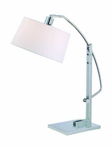 Lite Source LS-21560C/WHT Karm Adjustable Table Lamp, Chrome with White Fabric (Lite Source Chrome Adjustable Floor Lamp)