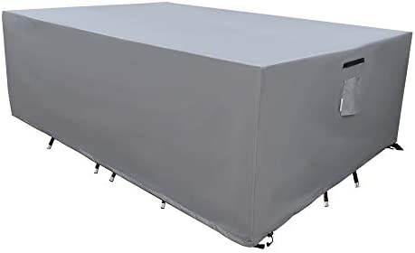 SERHOM Patio Furniture Covers, Waterproof Anti-UV 600D Heavy Duty Durable Table Cover for Outdoor Dining Table, Grey, 74x44x29
