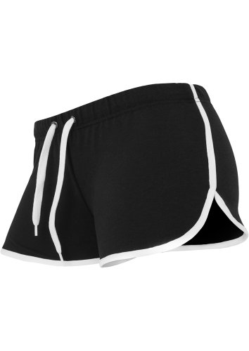 URBAN CLASSICS - LADIES FRENCH TERRY HOTPANTS - BLACK / WHITE