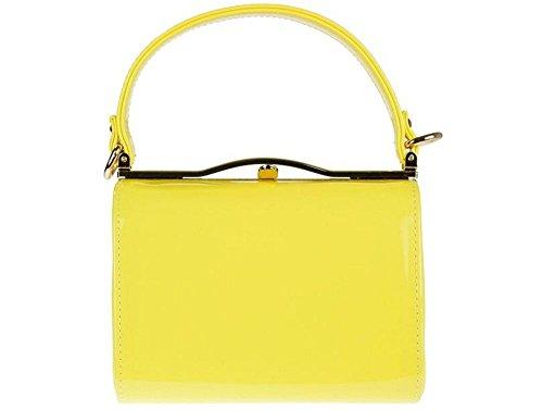 Ladies Patent Box Purse - Top Handle Rigid Bag - Women's Messenger Party Clutch Handbag K16688 Yellow