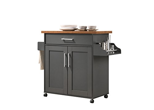 - Hodedah HIK78 Grey-Oak Kitchen Cart,