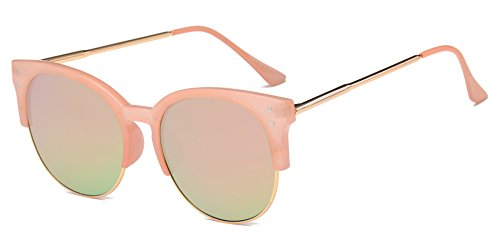 70s Inspired Outfits (Cramilo Women's Retro Fashion Designer Half Frame Round Cateye Sunglasses)