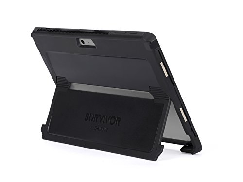 Griffin Survivor Slim Microsoft Surface Pro (2017) Case with Stand - Ultra-Protective and Impact-Resistant, Black
