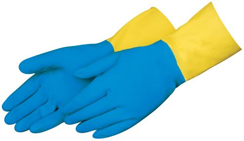 Liberty 2570SP Neoprene/Latex Liquid Proof Unsupported Glove with Flock Lined, Chemical Resistant, 28 mil Thickness, 13'' Length, Large, Blue/Yellow (Pack of 12)