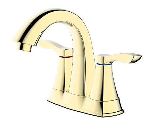 TimeArrow TAF3500-PB01 Two Handle Centerset Bathroom Sink Faucet With Drain Assembly and Water Supply Hose, Brushed Gold