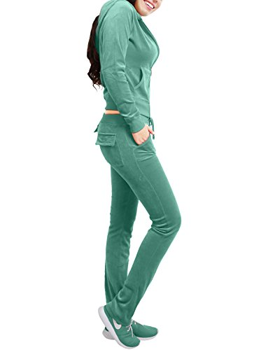 (NE PEOPLE Womens Casual Basic Velour Zip Up Hoodie Sweatsuit Tracksuit Set S-3XL)