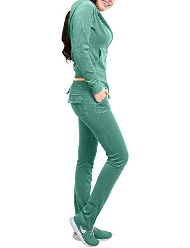 NE PEOPLE Womens Casual Basic Velour Zip Up Hoodie Sweatsuit Tracksuit Set S-3XL - Tracksuit Drawstring