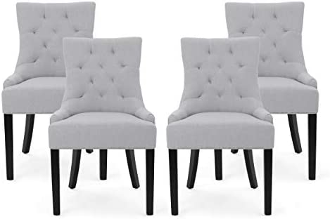 Christopher Knight Home Eudora Contemporary Tufted Fabric Dining Chairs Set of 4