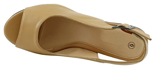Select Slingback Womens Beige Open Sandal Toe Platform Cambridge Wedge qnPpdRq