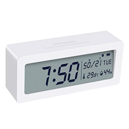 (2019 New) AMIR Digital Alarm Clock, Table Clock with Backlight Snooze Function, Display Date Temperature & Humidity, Simple to Operate, Time Memory Function for Home, Kitchen, Bedroom