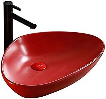 北欧のフルレッドトライアングルセラミックの上カウンター盆地浴室洗面アート盆地のバスルームシンク