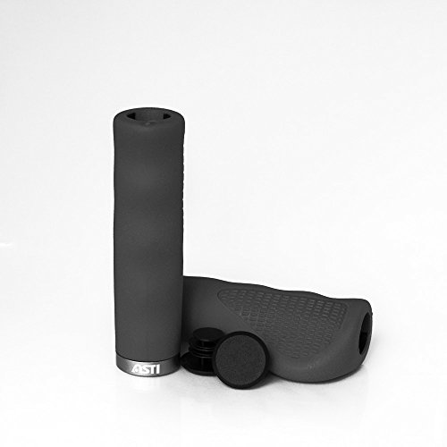 Asti Patented ISO-PRENE Rubber Foam Mountain Bike Grips   Comfortable & Heavy Duty Handlebar Grip Set   Odorless, Hypoallergenic & Secure MTB Bicycle Gripping Cushions   Flexible Design (Black)