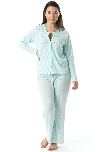 Casual Nights Women's Long Sleeve Embroidered Dot Pajama Set - Green - ()