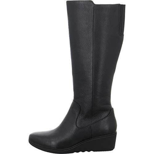 Zapatos Mujer Cuero Clarks Para De Negro Cordones C1gwwaq