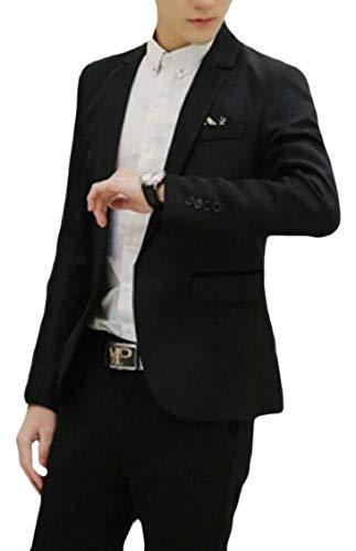 Slim Para Casual Boda Larga Con Ocio Fit Business Hombre Traje Estilo Chaquetas Manga Men's Blazer 1 Chaqueta De Schwarz Ropa Button dcpyWyfn