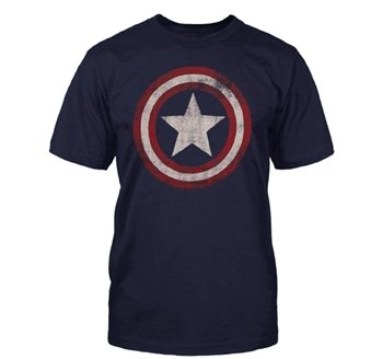 Captain America - Distressed Shield T-Shirt Size XL