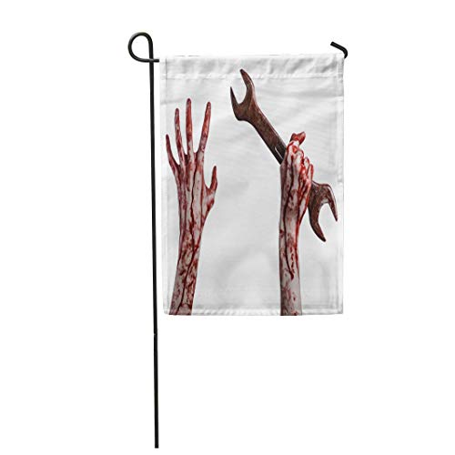 Tarolo Decoration Flag Bloody Hand Holding Big Wrench Key Halloween Crazy Mechanic Murderer Psycho Violence Zombies Revolution Thick Fabric Double Sided Home Garden Flag 12