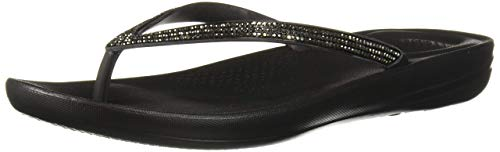 FitFlop Women's IQUSHION Sparkle Flip-Flop, Black, US08 M US