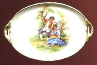 "LIMOGES 2"" X 3"" OVAL DISH WITH HANDLES /BEAUTIFUL PICTURE OF LOVERS /**RAREST**"