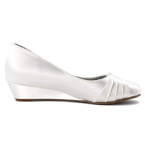 Dyeables Dames Rue Flats Schoenen Wit Satijn