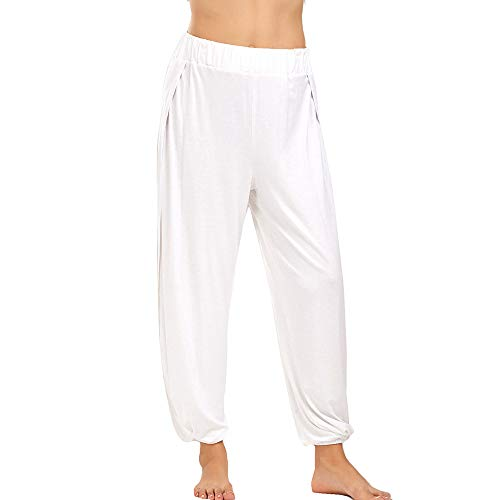 iLUGU Womens Fashion Fitness Yoga Pants Sports Casual Work Out Gym Yoga Sauna Athletic White