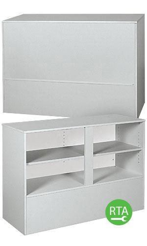 Gray 4' Service Counter Rack with Adjustable Rear Storage Shelf 48''L x 34''Hx18''D by Display Case
