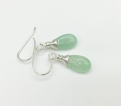 Natural Jade Earrings, green teardrop gemstone earring, 925 sterling silver jewelry, genuine vintage burma jade drops, burmese jadeite